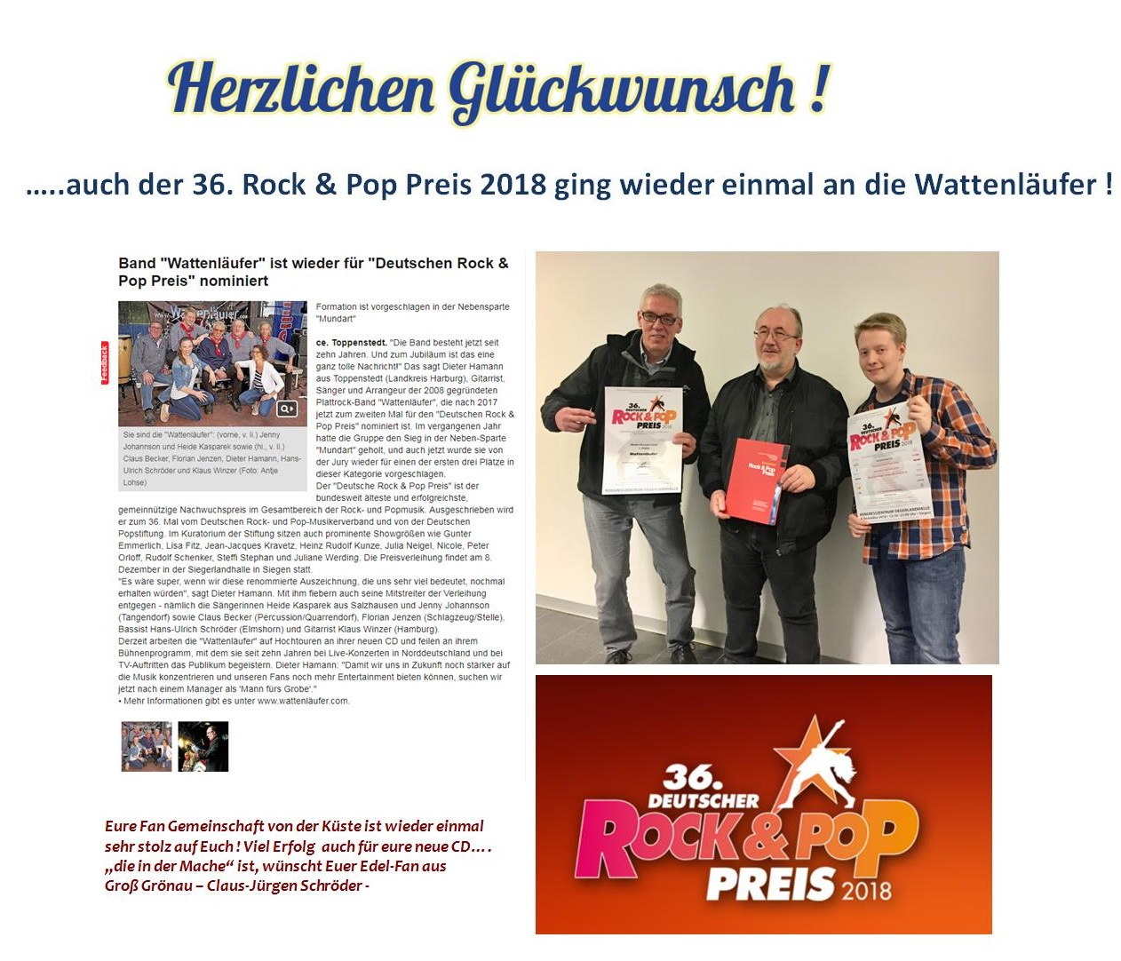 Fan Collage   Rock und Pop Preis 2018